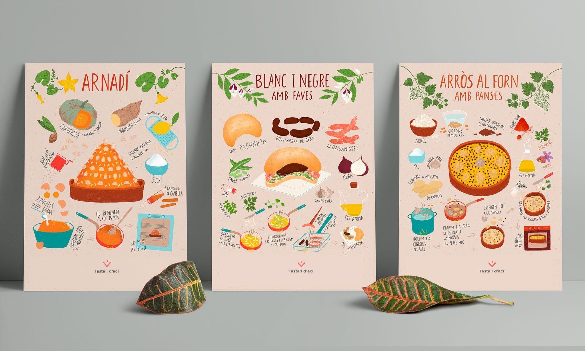 poster postals 2 6 postals 'Cuina valenciana iŀlustrada'