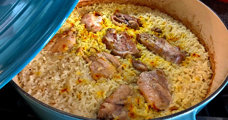 Arròs pilaf al forn amb pollastre