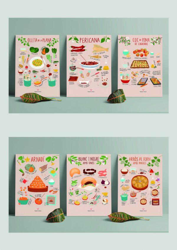 coleccio posters 6 prints A3 'Cuina valenciana iŀlustrada'